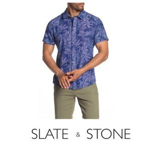 Slate & Stone Short Sleeve Blue Hawaiian Sz XL NWT